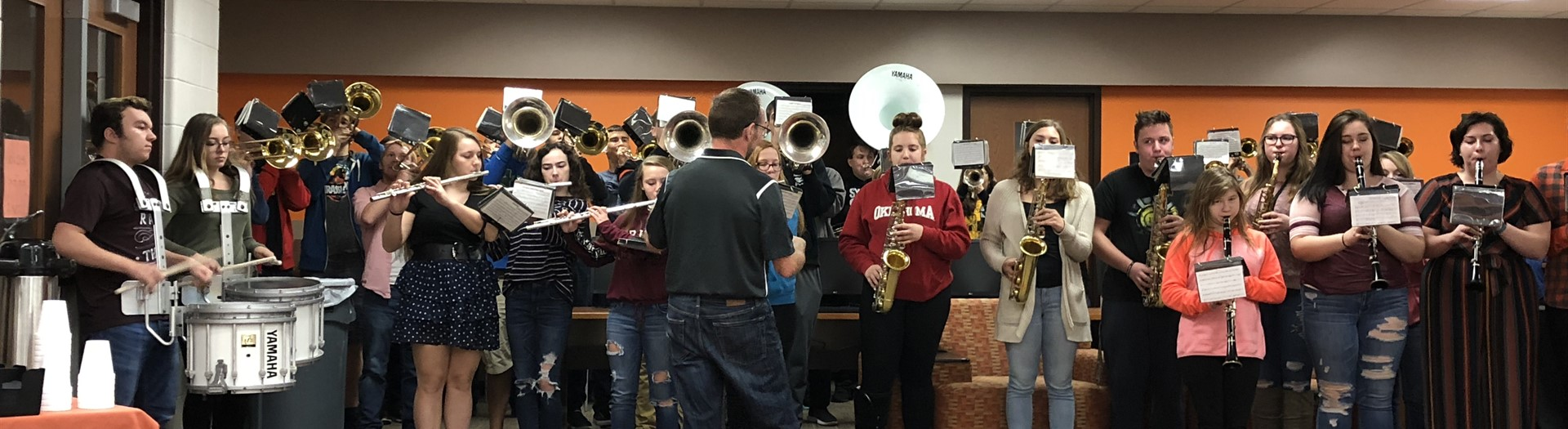 "HHS band playing an impromptu set in the Media Center for the Homer ""All In"" breakfast!"