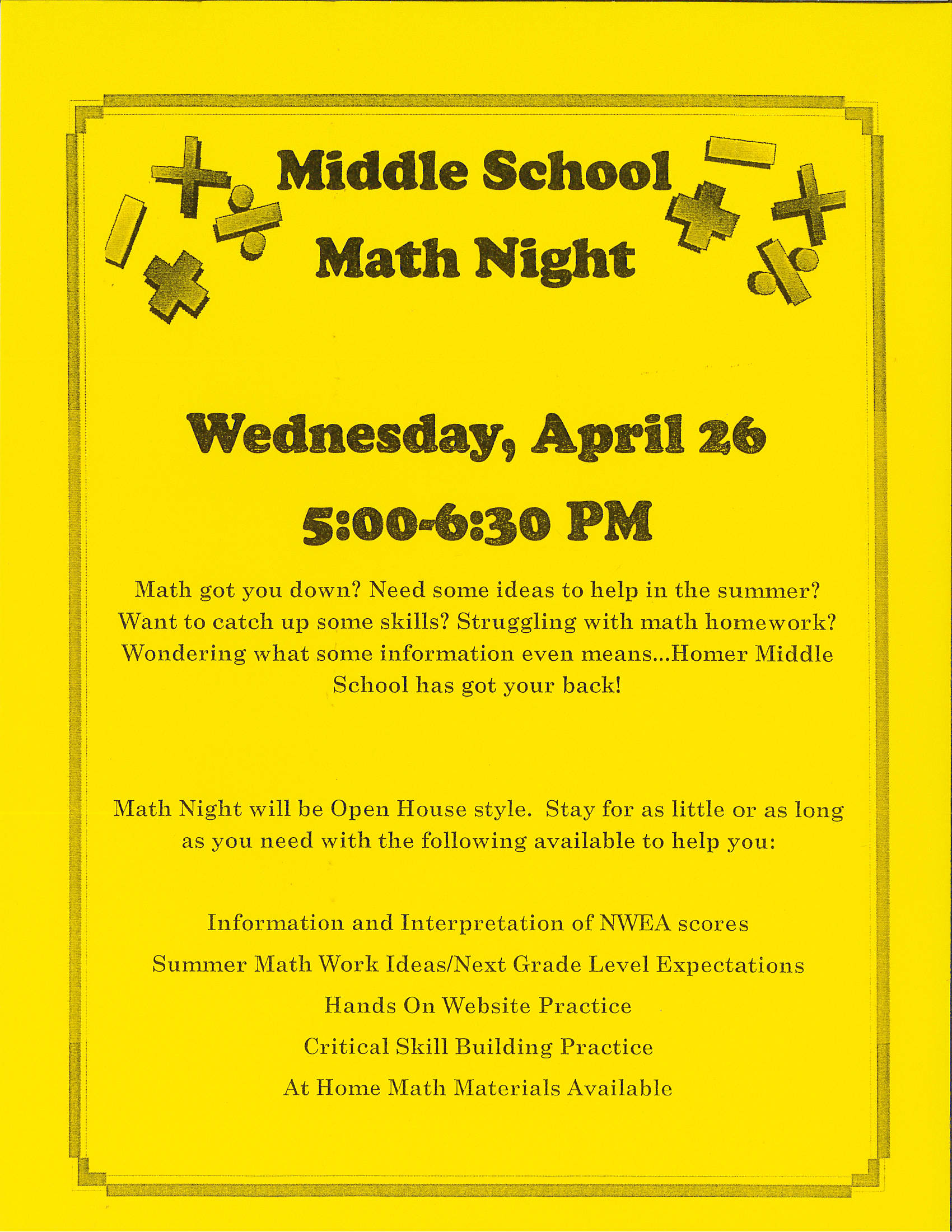 Homer Middle School Math Night Flyer